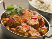 Chicken Chili Tikka Masala with Fragrant Basmati Rice — Stock Photo