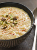 Saffron Pistachio and Coconut Rice Pudding — Stock Photo