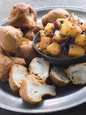 Pakoras- Mushroom and Cauliflower with Mango Mustard and Pomegra — Stock Photo