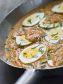 Eggs Cooked Moghali Style in a pan — Stock Photo