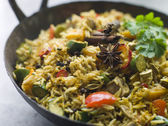 Vegetable Biryani in a Large Karahi — Stock Photo