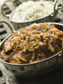 Dish of Dopiaza Veal with Fragrant Pilau Rice — Stockfoto