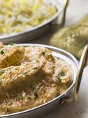 Dish of Chicken Pasanda with Pilau — Stock Photo