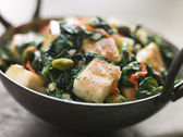 Karai Dish with Spinach and fried Paneer — Stock Photo