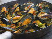 Mussels Cooked Bangladeshi Rezala Style — Stock Photo