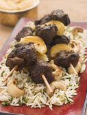 Cardamom Lamb Boti with Cashew Rice — Stock Photo