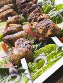 Chicken Tikka Marinated Shashlik Kebabs — Stock Photo