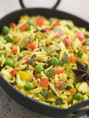 Vegetable Pilau Rice in a Balti Dish — Stock Photo