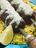 Lamb Mint and Garlic Sheesh Kebab with Pilau Rice and Raita — Stock Photo