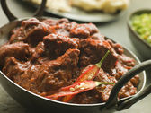 Meat Phall in Karahi with Naan and Green Chilli Curry — Stock Photo