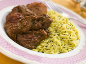 Meat Vindaloo with Pilau Rice — Stock Photo