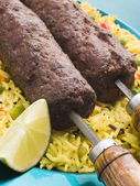 Lamb Mint and Garlic Sheesh Kebab with Pilau Rice — Stock Photo