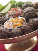 Platter of Kofta Balls with Mango Chutney and Tomato Relish — Stock Photo