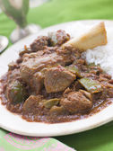 Lamb Shank Rogan Josh Gosht with Plain Basmati Rice — Stock Photo