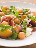 Platter of Cantaloupe Melon Parma Ham Mozzarella Cheese and Peac — Stock Photo