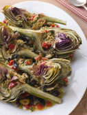 Roasted Globe Artichokes with Aubergine Peppers and Olives — Stock Photo