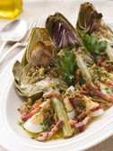 Roasted Globe Artichokes with Pancetta Egg and Garlic Breadcrumb — Stock Photo