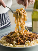 Tagaliatelle with Ragu Sauce — Stock Photo