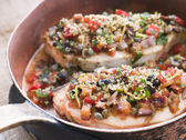 Baked Sicilian Swordfish in a Copper pan — Stock Photo