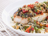 Baked Sicilian Swordfish with Linguine — Stock Photo