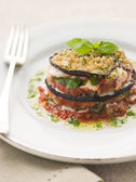 Aubergine Parmigiana Tower with Herb Oil — Stockfoto