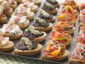 Selection of Crostini — Stock Photo
