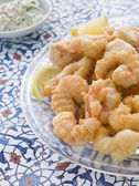 Dish of Fritto Misto di mare with Herb Dressing — Stock Photo