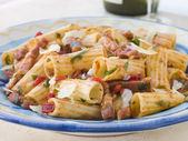 Rigatoni Pasta with a Tomato and Pancetta Sauce — Stock Photo