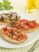 Plate of Vegetarian Bruschetta — Stock Photo