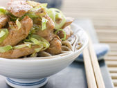 Bowl of Chicken and Leek Soba Noodles in Broth — Stock Photo
