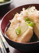 Crisp Fried Tofu in Miso with Bonito Flakes and Pickles — Stock Photo