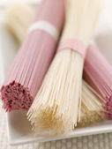 Clear and Pink Dried somen Noodles — Stock Photo