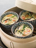 Steamed savoury Custards in a Steamer — ストック写真