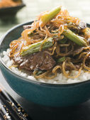 Sweet Soy Beef Fillet with Shirataki Noodles on Rice — Stock Photo