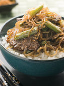 Sweet Soy Beef Fillet With Shirakaki Noodles on Rice with Shichi — Stock Photo