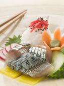 Sashimi of Mackerel with Pickled Daikon Salad and Vinegar Rice — Stock Photo