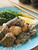 Spiced Fried Mackerel with Lemon — Stock Photo