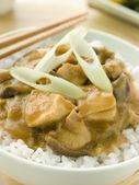 Chicken and Mushroom Curry With Koshihikari Rice — Stock Photo