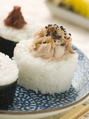 Sushi Rice Balls with Smoked Mackerel and Ameboshi Paste — Stock Photo
