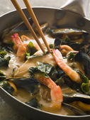 Japanese Seafood and Wakame Seaweed Curry — Stock Photo