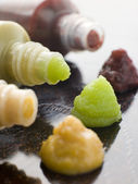 Three Japanese Sauces-Wasabi Mustard and Plum — Stock Photo
