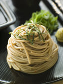 Chilled Soba Noodles With Wasabi and Soy Sauce — Stock Photo