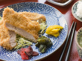 Tonkatsu Plated with Rice Miso Soup and Pickles — Stock Photo