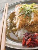 Plated Tonkatsu with Vinegar Rice, Curry Sauce and Pickled red R — Stock Photo