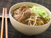 Hot and Sour Beef Broth With Spinach Ramen Noodles — Stock Photo