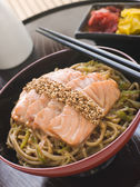 Sesame Crusted Salmon Fried Noodles and Pickles — Stock Photo