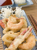 Tempura of Seafood with chili Sauce and Mouli — Stock Photo