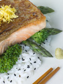 Citrus Salmon Fillet on Rice Steamed Vegetables with Sesame and — 图库照片