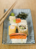 Plated Sushi with Wasabi Sushi Ginger and nori — Stock Photo