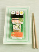 Plated Sushi with Chopsticks — Stock Photo